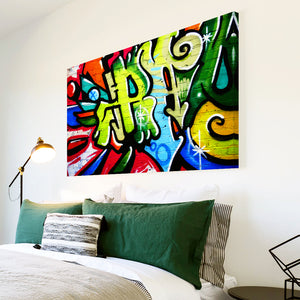 AB098 Framed Canvas Print Colourful Modern Abstract Wall Art - Green Red Graffiti-Canvas Print-WhatsOnYourWall
