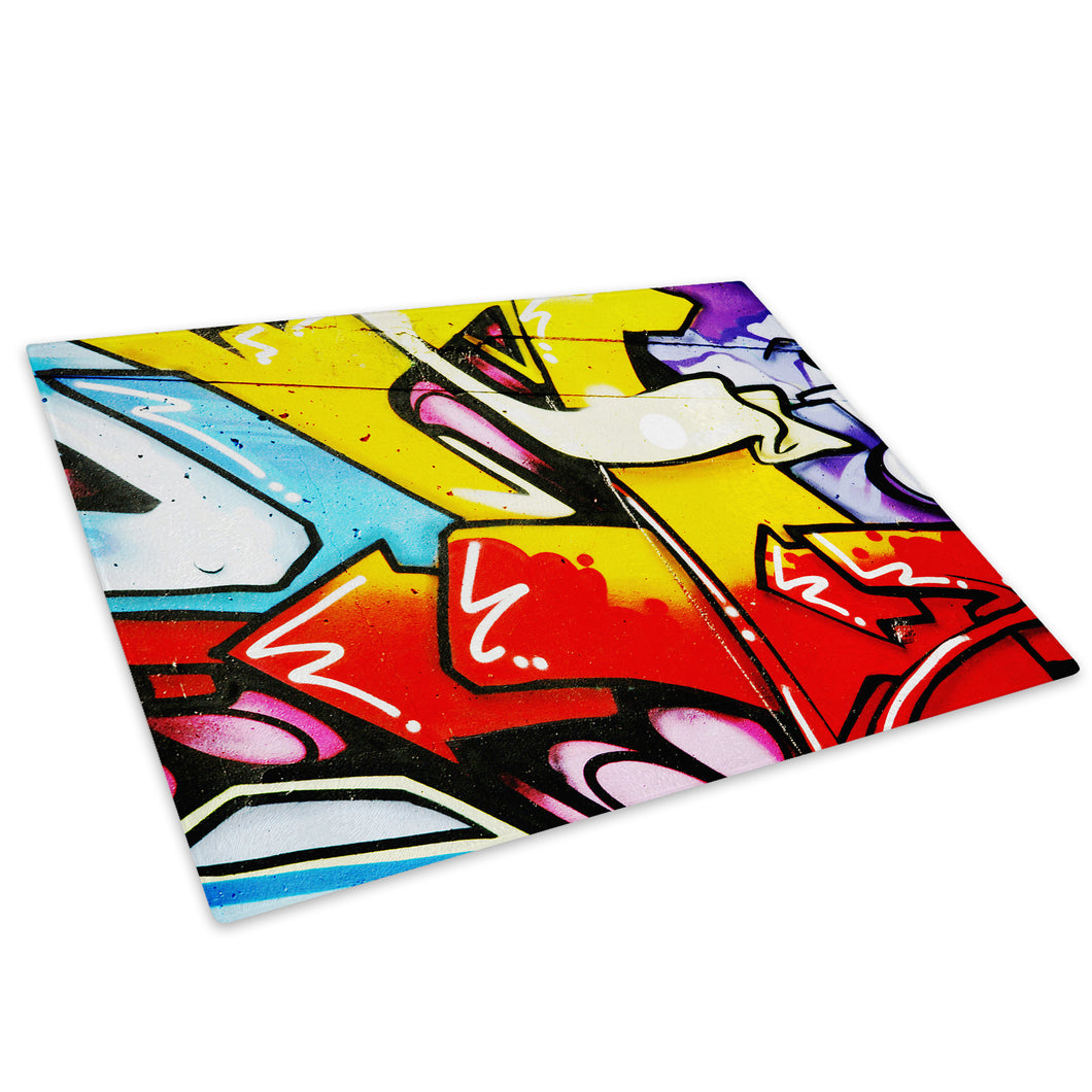 Green Red Graffiti Glass Chopping Board Kitchen Worktop Saver Protector - AB099-Abstract Chopping Board-WhatsOnYourWall