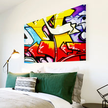 AB099 Framed Canvas Print Colourful Modern Abstract Wall Art - Green Red Graffiti-Canvas Print-WhatsOnYourWall