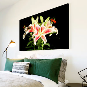 AB100 Framed Canvas Print Colourful Modern Abstract Wall Art - Pink Green Black Flower-Canvas Print-WhatsOnYourWall