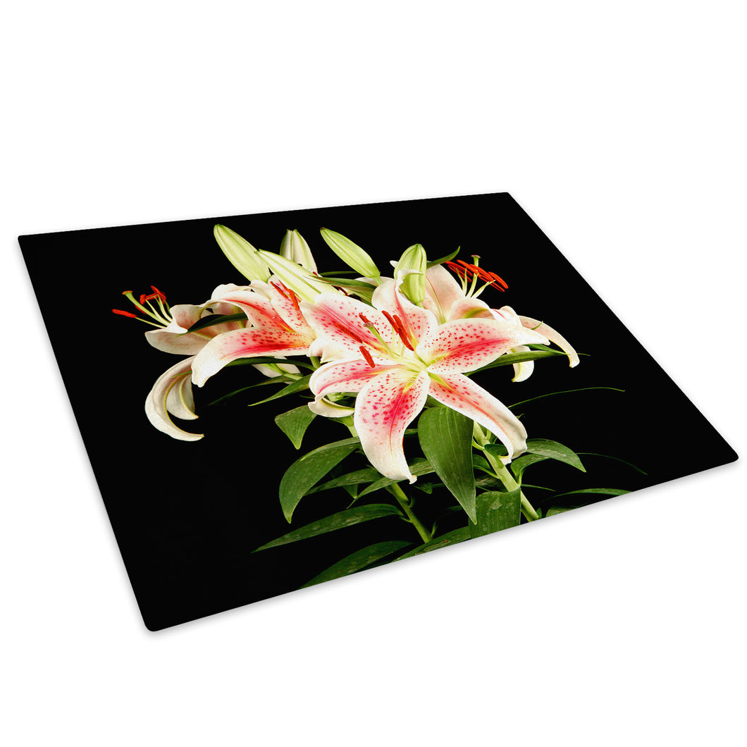 Pink Green Black Flower Glass Chopping Board Kitchen Worktop Saver Protector - AB100-Abstract Chopping Board-WhatsOnYourWall