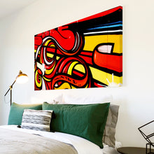 AB101 Framed Canvas Print Colourful Modern Abstract Wall Art - Red Yellow Graffiti-Canvas Print-WhatsOnYourWall