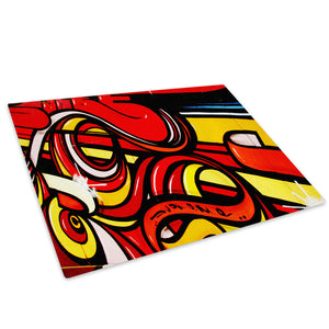 AB101 Framed Canvas Print Colourful Modern Abstract Wall Art -  Red Yellow Graffiti - WhatsOnYourWall