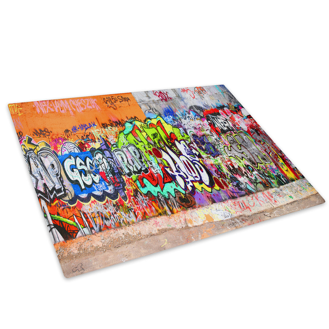 Orange Green Graffiti Glass Chopping Board Kitchen Worktop Saver Protector - AB102-Abstract Chopping Board-WhatsOnYourWall