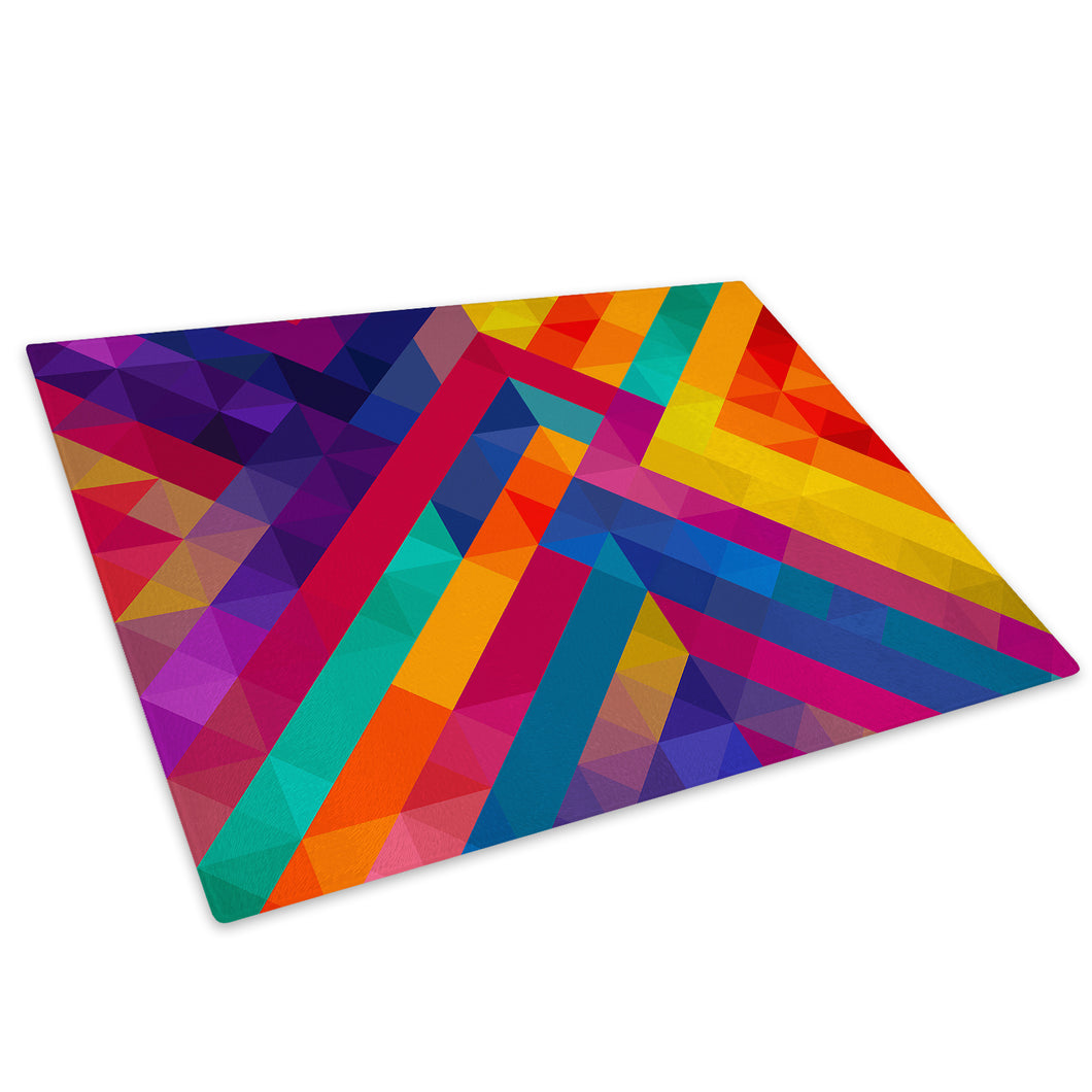Pink Blue Geometric Glass Chopping Board Kitchen Worktop Saver Protector - AB1039-Abstract Chopping Board-WhatsOnYourWall