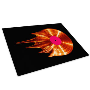 Orange Record Black Glass Chopping Board Kitchen Worktop Saver Protector - AB1048-Abstract Chopping Board-WhatsOnYourWall