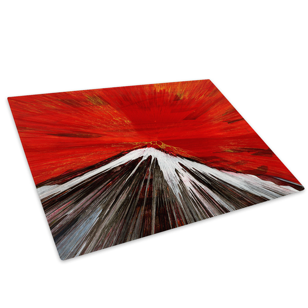Red White Glass Chopping Board Kitchen Worktop Saver Protector - AB1057