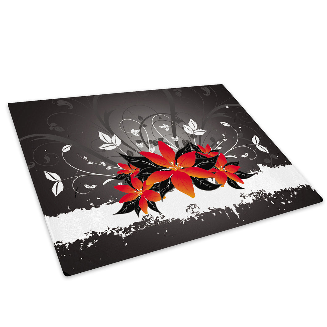 Red Gray Flower Glass Chopping Board Kitchen Worktop Saver Protector - AB1059