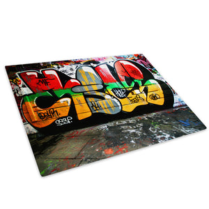 Red Yellow Green Graffiti Glass Chopping Board Kitchen Worktop Saver Protector - AB105-Abstract Chopping Board-WhatsOnYourWall