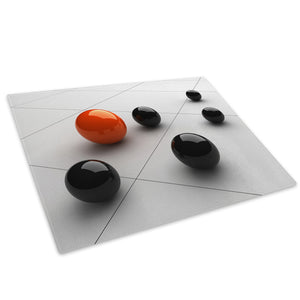 Black Orange 3D Ball Glass Chopping Board Kitchen Worktop Saver Protector - AB106-Abstract Chopping Board-WhatsOnYourWall