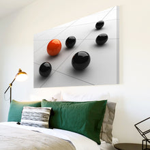 AB106 Framed Canvas Print Colourful Modern Abstract Wall Art - Black Orange 3D Ball-Canvas Print-WhatsOnYourWall