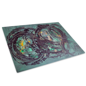 Black Green Glass Chopping Board Kitchen Worktop Saver Protector - AB1075