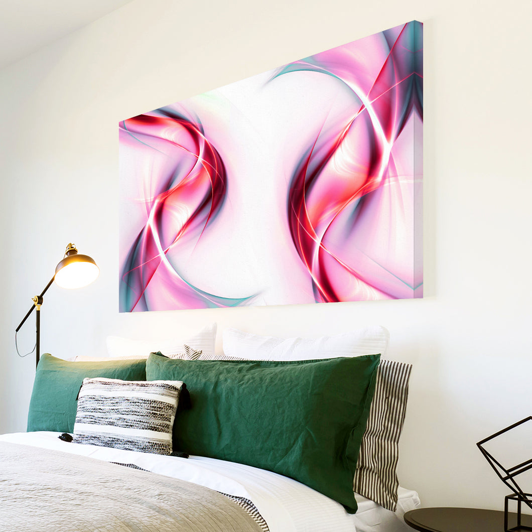 AB108 Framed Canvas Print Colourful Modern Abstract Wall Art - Pink Red White Wave-Canvas Print-WhatsOnYourWall