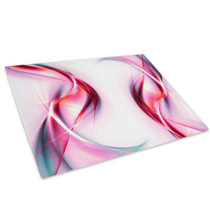 Pink Red White Wave Glass Chopping Board Kitchen Worktop Saver Protector - AB108