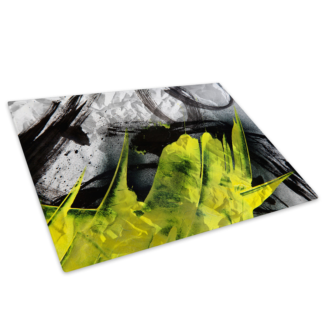 Black Yellow Glass Chopping Board Kitchen Worktop Saver Protector - AB1096