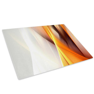 Yellow Orange Grey Wave Glass Chopping Board Kitchen Worktop Saver Protector - AB109-Abstract Chopping Board-WhatsOnYourWall