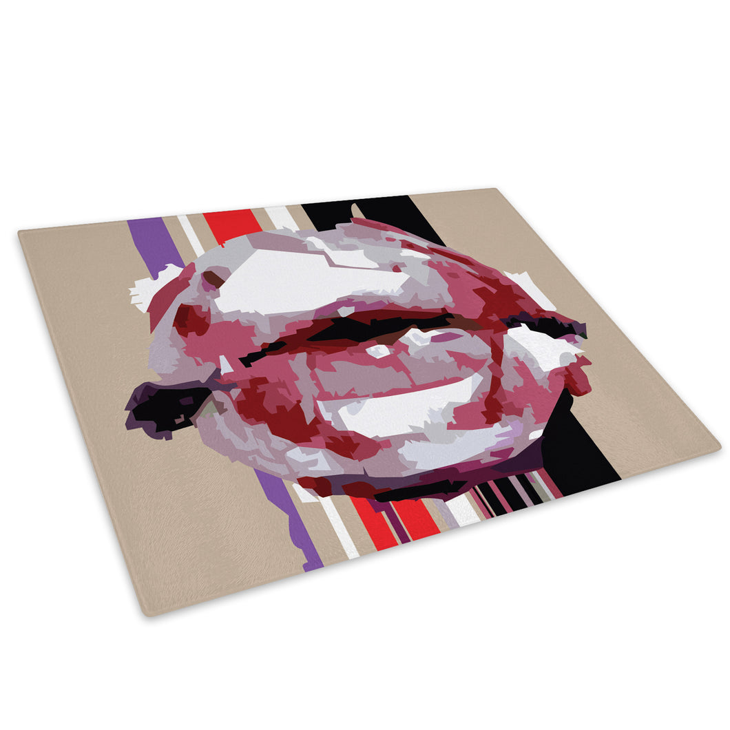 Pink Red Lips Glass Chopping Board Kitchen Worktop Saver Protector - AB1100-Abstract Chopping Board-WhatsOnYourWall