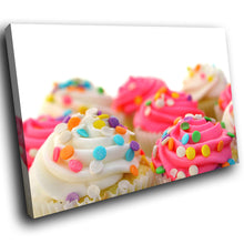 AB110 Framed Canvas Print Colourful Modern Abstract Wall Art - Pink White Cupcake-Canvas Print-WhatsOnYourWall