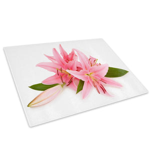Pink White Lily Flower Glass Chopping Board Kitchen Worktop Saver Protector - AB111-Abstract Chopping Board-WhatsOnYourWall