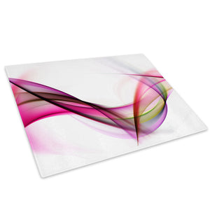Pink White Purple Wave Glass Chopping Board Kitchen Worktop Saver Protector - AB112-Abstract Chopping Board-WhatsOnYourWall