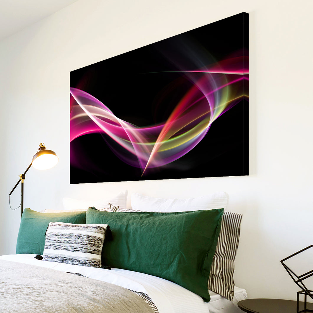 AB113 Framed Canvas Print Colourful Modern Abstract Wall Art - Pink Purple Black Wave-Canvas Print-WhatsOnYourWall