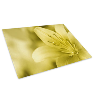 Yellow Lily Flower Glass Chopping Board Kitchen Worktop Saver Protector - AB114-Abstract Chopping Board-WhatsOnYourWall