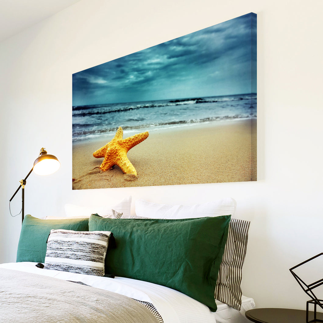 AB116 Framed Canvas Print Colourful Modern Abstract Wall Art - Blue Yellow Starfish Beach-Canvas Print-WhatsOnYourWall