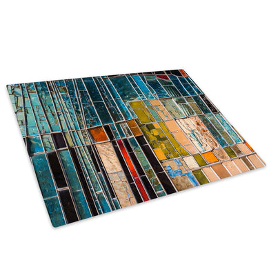 Teal Blue Red Glass Chopping Board Kitchen Worktop Saver Protector - AB1178-Abstract Chopping Board-WhatsOnYourWall