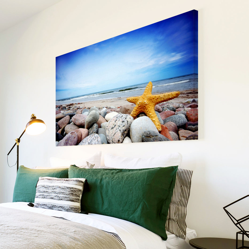 AB117 Framed Canvas Print Colourful Modern Abstract Wall Art - Blue Yellow Starfish Beach-Canvas Print-WhatsOnYourWall