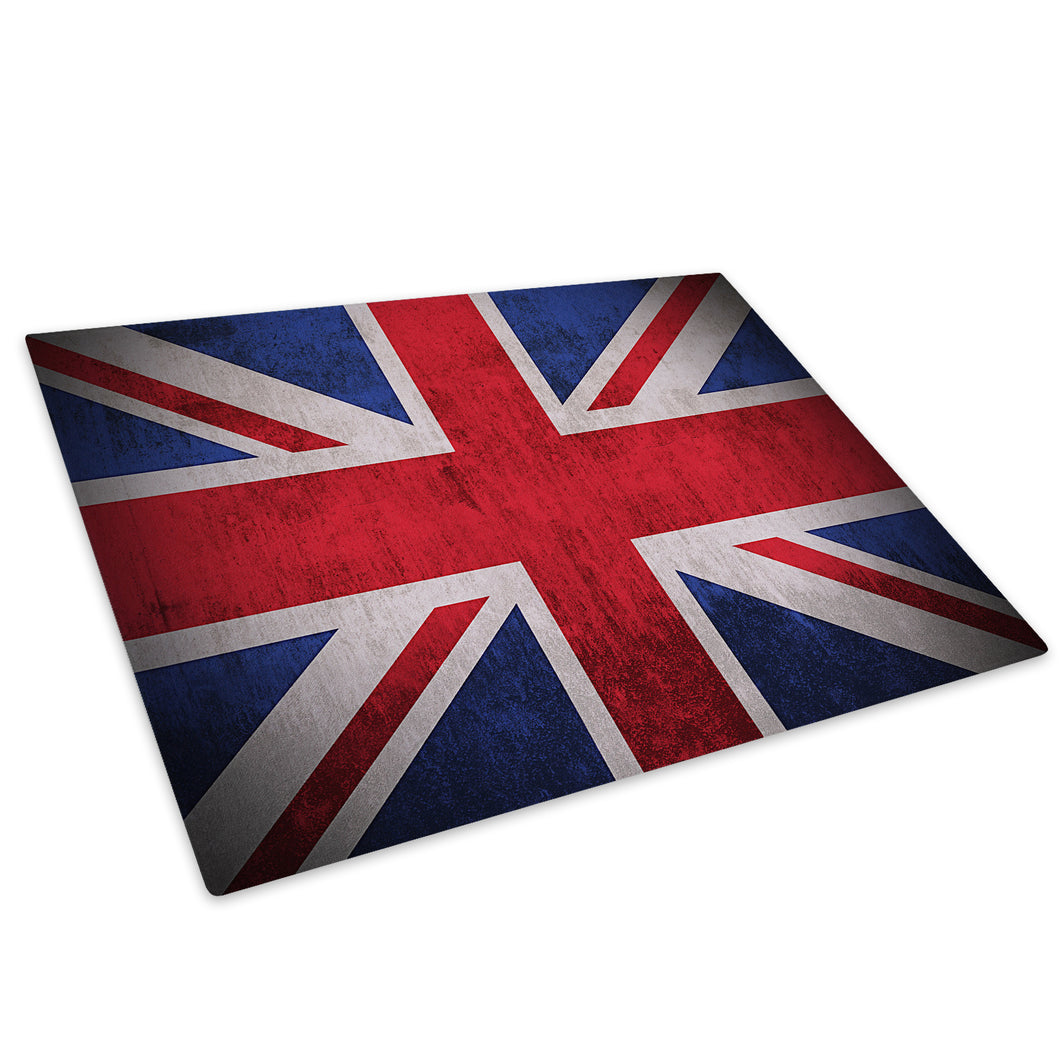 Red Blue White Union Jack Glass Chopping Board Kitchen Worktop Saver Protector - AB118-Abstract Chopping Board-WhatsOnYourWall