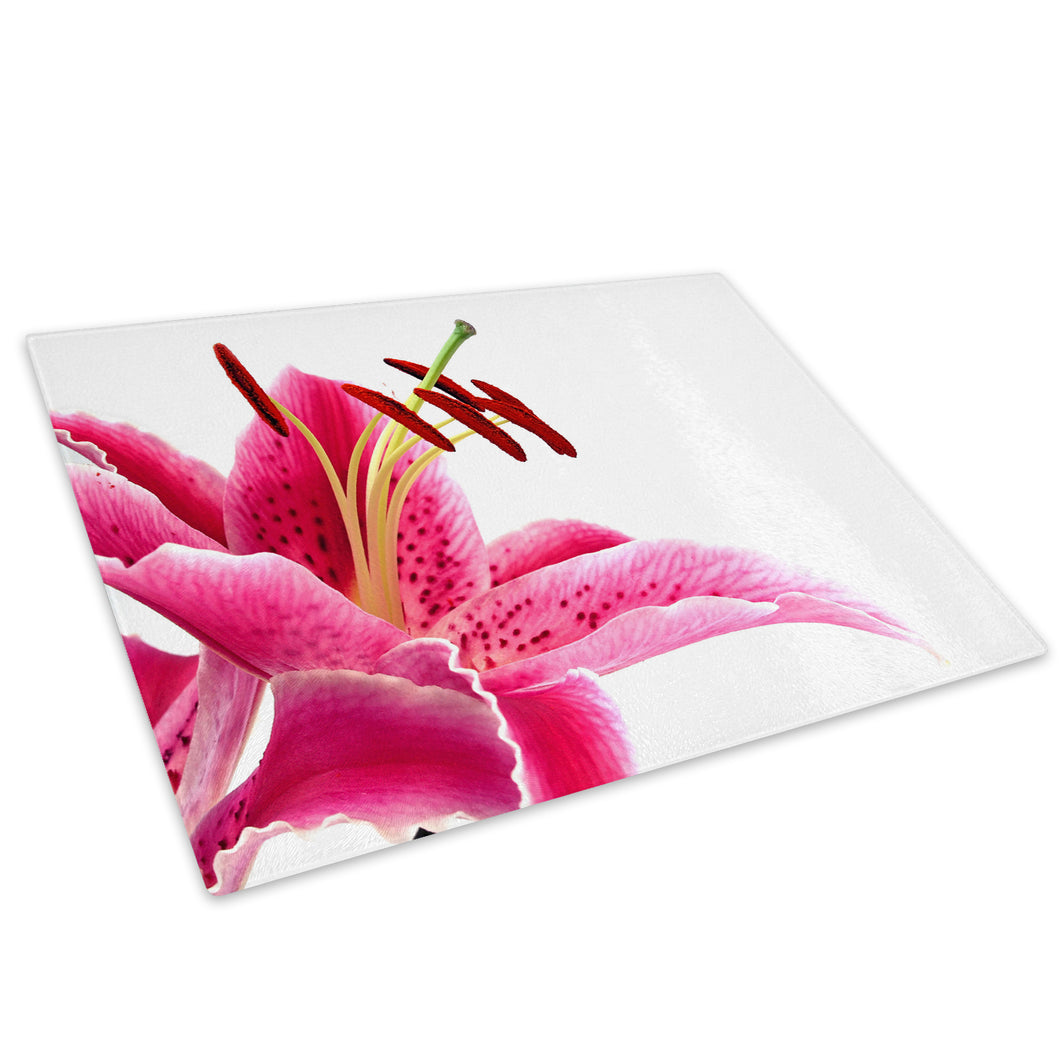Pink White Lily Flower Glass Chopping Board Kitchen Worktop Saver Protector - AB119-Abstract Chopping Board-WhatsOnYourWall