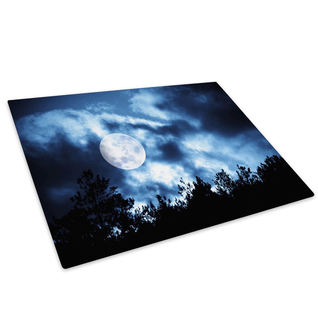 Blue Night Sky Moon Glass Chopping Board Kitchen Worktop Saver Protector - AB120-Abstract Chopping Board-WhatsOnYourWall