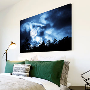AB120 Framed Canvas Print Colourful Modern Abstract Wall Art - Blue Night Sky Moon-Canvas Print-WhatsOnYourWall