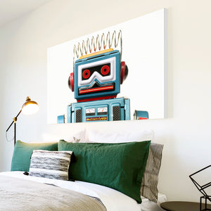 AB121 Framed Canvas Print Colourful Modern Abstract Wall Art - Blue Red Robot Toy Kids-Canvas Print-WhatsOnYourWall