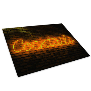 Orange Neon Cocktails Glass Chopping Board Kitchen Worktop Saver Protector - AB124-Abstract Chopping Board-WhatsOnYourWall