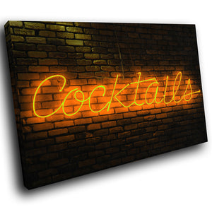AB124 Framed Canvas Print Colourful Modern Abstract Wall Art - Orange Neon Cocktails-Canvas Print-WhatsOnYourWall