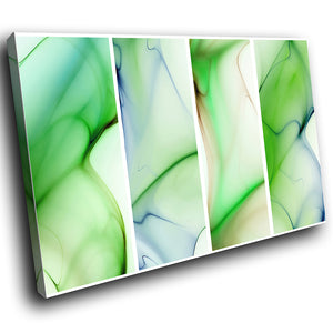 AB130 Framed Canvas Print Colourful Modern Abstract Wall Art - Green Blue Waves Cool-Canvas Print-WhatsOnYourWall