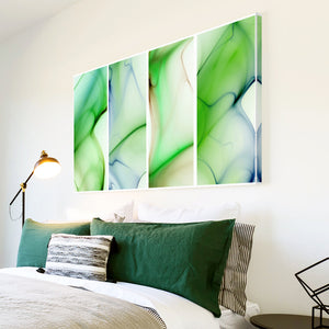AB130 Framed Canvas Print Colourful Modern Abstract Wall Art -  Green Blue Waves Cool