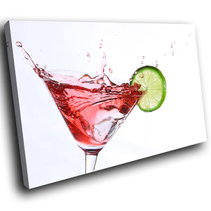 AB132 Framed Canvas Print Colourful Modern Abstract Wall Art - Cocktail Splash Red-Canvas Print-WhatsOnYourWall