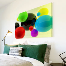 AB133 Framed Canvas Print Colourful Modern Abstract Wall Art - Green Red Blue Cool-Canvas Print-WhatsOnYourWall