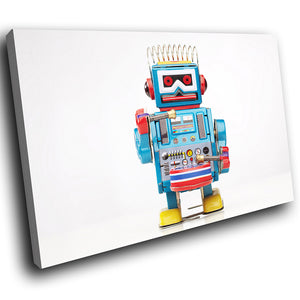 AB135 Framed Canvas Print Colourful Modern Abstract Wall Art - Retro Blue Red Toy Robot-Canvas Print-WhatsOnYourWall