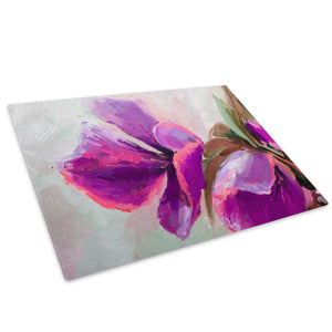 Retro Pink Flower Glass Chopping Board Kitchen Worktop Saver Protector - AB1371-Abstract Chopping Board-WhatsOnYourWall