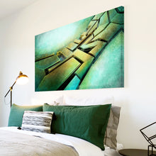 AB137 Framed Canvas Print Colourful Modern Abstract Wall Art - Green Yellow Grunge-Canvas Print-WhatsOnYourWall