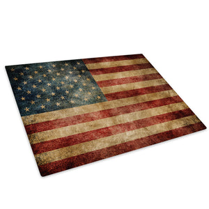 American Flag Retro USA Glass Chopping Board Kitchen Worktop Saver Protector - AB138-Abstract Chopping Board-WhatsOnYourWall