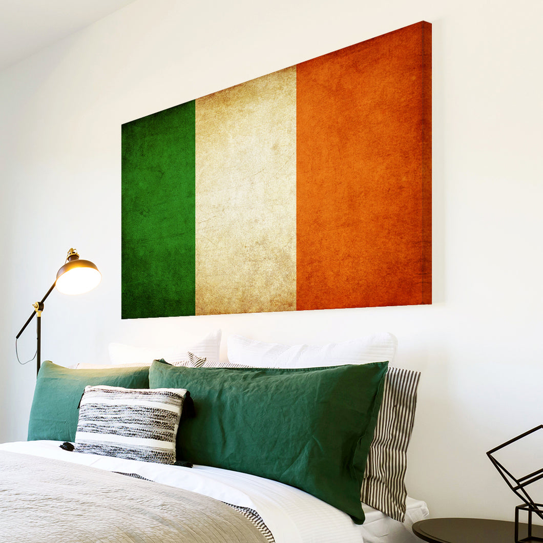 AB139 Framed Canvas Print Colourful Modern Abstract Wall Art - Irish Flag Tricolour-Canvas Print-WhatsOnYourWall