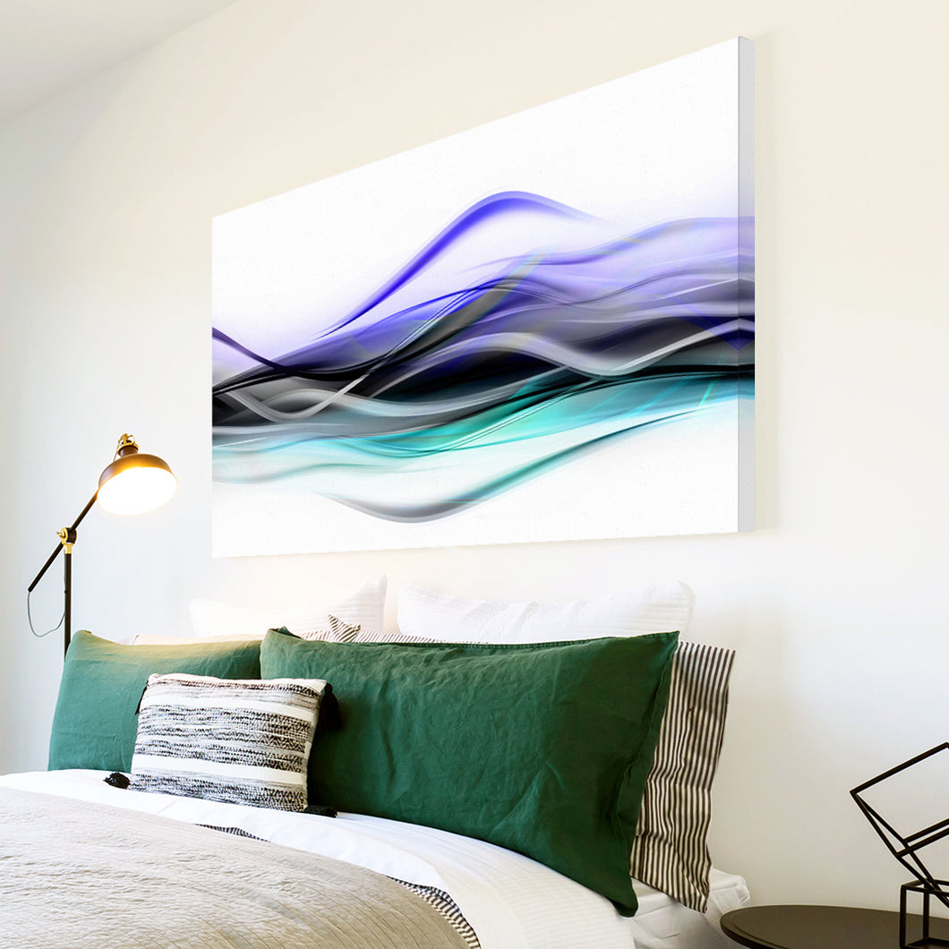 AB141 Framed Canvas Print Colourful Modern Abstract Wall Art - Purple Teal White-Canvas Print-WhatsOnYourWall