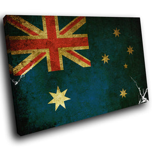 AB145 Framed Canvas Print Colourful Modern Abstract Wall Art - Australian Flag Grunge Blue-Canvas Print-WhatsOnYourWall