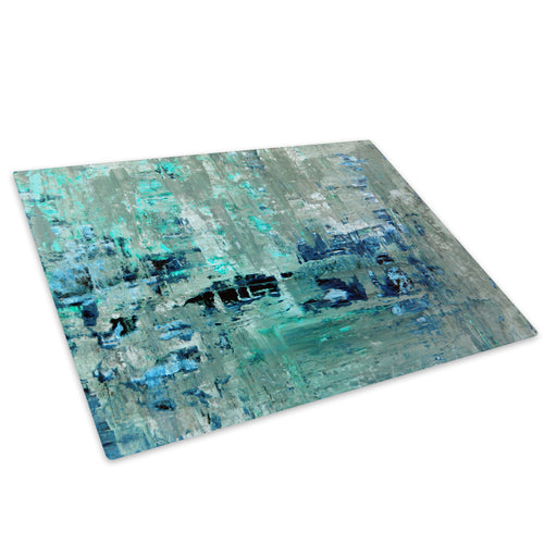 Teal Grey Blue Cool Glass Chopping Board Kitchen Worktop Saver Protector - AB1465-Abstract Chopping Board-WhatsOnYourWall