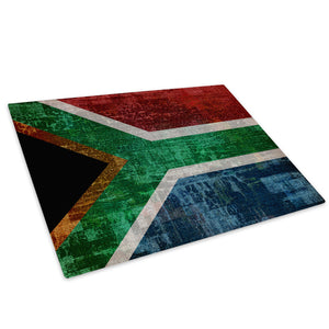 South African Flag Retro Glass Chopping Board Kitchen Worktop Saver Protector - AB147-Abstract Chopping Board-WhatsOnYourWall