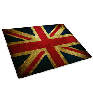 Union Jack Uk Flag Retro Glass Chopping Board Kitchen Worktop Saver Protector - AB148-Abstract Chopping Board-WhatsOnYourWall